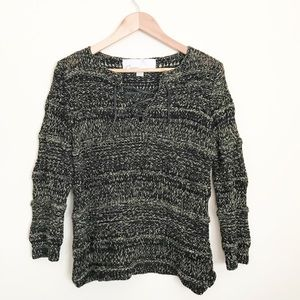 Olive Green Black Lace Up sweater cotton Anthro M